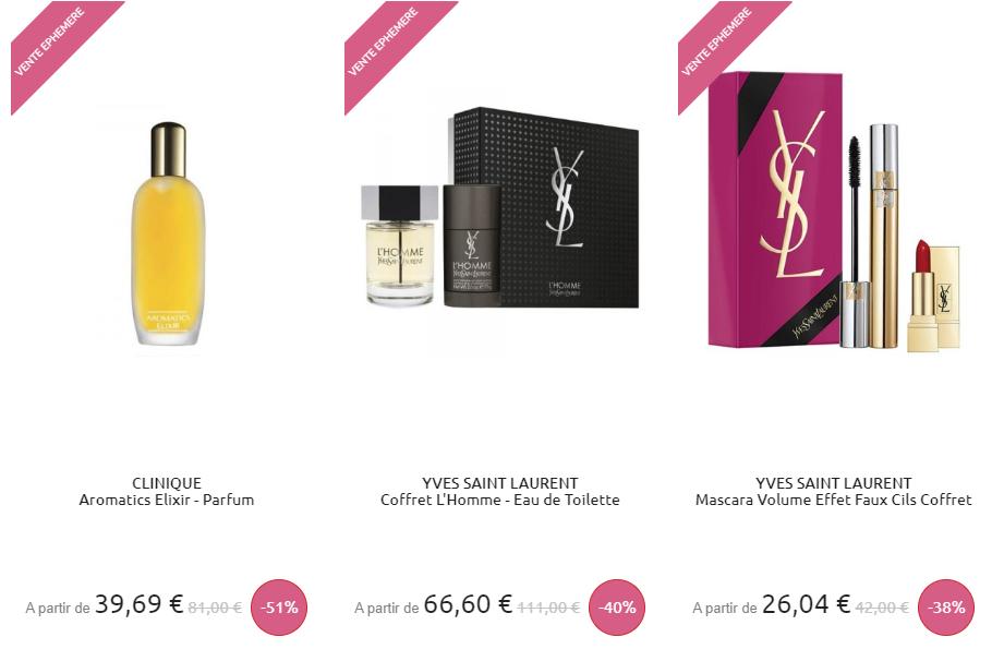 Exemple de vente flash avec des parfums pas trop chers